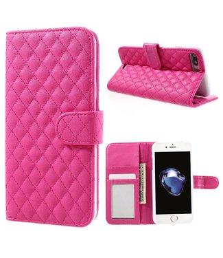 ZWC Grid PU Leren Wallet iPhone 7/8 plus - Donker Roze