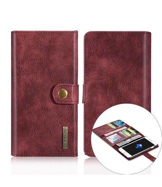 DG-Ming DG-Ming Luxe Magnetische Leren Wallet iPhone 7/8 plus - Wijnrood