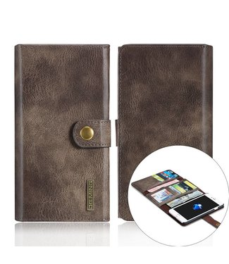 DG-Ming DG-Ming Luxe Magnetische Leren Wallet iPhone 7/8 plus - Coffee Bruin