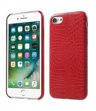 ZWC Crocodile PU Leren Hardcase iPhone 7/8 - Rood