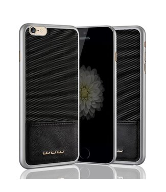 JLW JLW PC/PU Leren Hardcase iPhone 6(s) - Zilver/Zwart