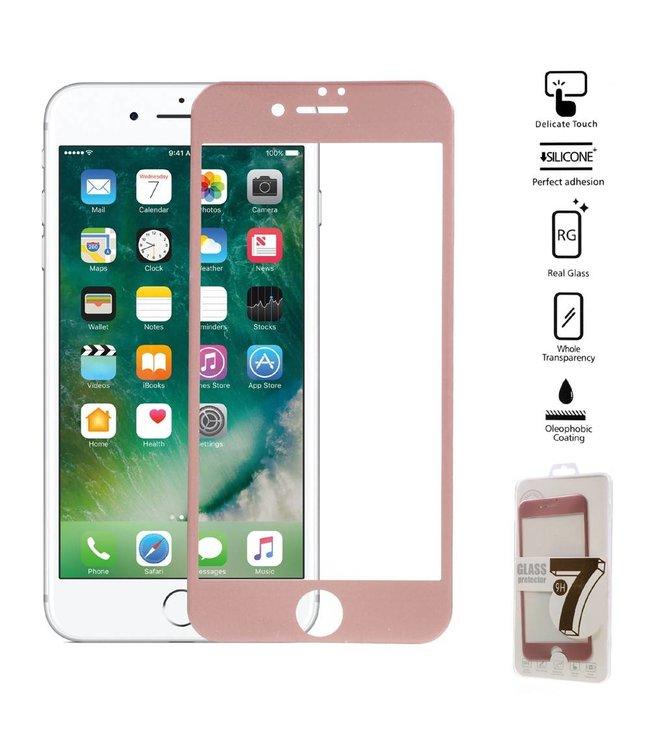 Seven iPhone 6(s)/7/8 Edge To Edge Gehard Glas Screenprotector - Rosé Goud