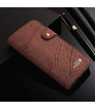 Golden Phoenix Golden Phoenix Leren Wallet iPhone 7/8 - Coffee Bruin