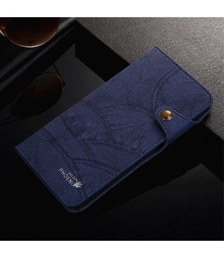 Golden Phoenix Golden Phoenix Leren Wallet iPhone 7/8 plus - Navy Blauw