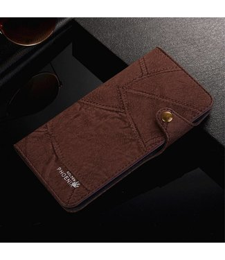 Golden Phoenix Golden Phoenix Leren Wallet iPhone 7/8 plus - Coffee Bruin