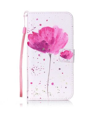 ZWC PU Leren Color Wallet iPhone 7/8 plus - Roze Bloem
