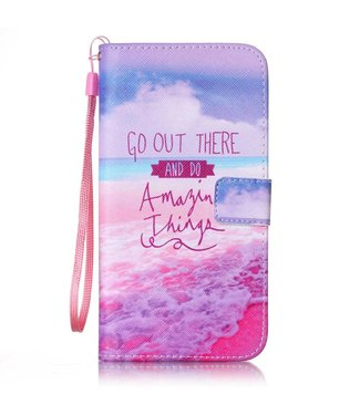 ZWC PU Leren Color Wallet iPhone 7/8 plus - Go Out There