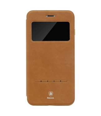 Baseus Baseus PU Leren Kijkvenster Wallet iPhone 7/8 plus - Kaki Bruin