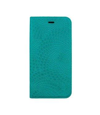 Imoshion Imoshion Crocodile Leren Bookcase iPhone 6(s) plus - Cyaan Blauw