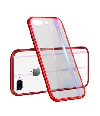 Baseus Afneembaar Magnetisch Plastic frame + gehard glazen achterkant voor iPhone 8 Plus / 7 Plus- Rood