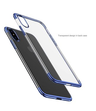 Baseus Baseus PC Metallic Hardcase iPhone X - Blauw Transparant