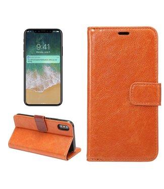 Crazy Horse Crazy Horses PU Leren Wallet iPhone X - Oranje
