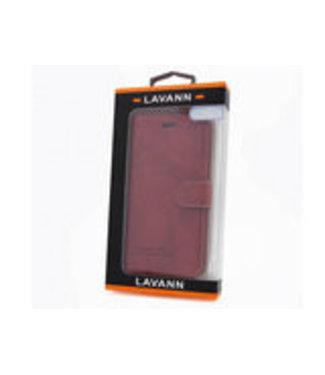 Lavann PU Leren Bookcase voor iPhone 7/8/SE 2020 - Rood Bruin
