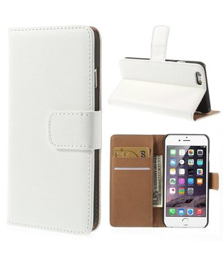 TVC Echte Leren Wallet Case voor iPhone 6(s) met Standaard - Wit