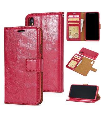 Crazy Horse Afneembare 2-in-1 TPU Leren Wallet Case voor de iPhone X/Xs - Rood