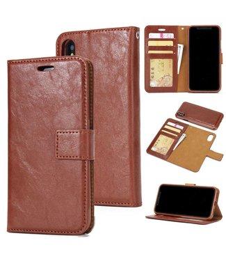 Crazy Horse Afneembare 2-in-1  TPU Leren Wallet Case voor de iPhone X/Xs - Bruin