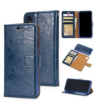 Crazy Horse Afneembare 2-in-1 Crazy Horse TPU Leren Wallet Case voor de iPhone X - Blauw