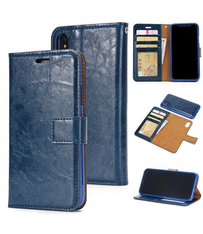 Crazy Horse Afneembare 2-in-1 TPU Leren Wallet Case voor de iPhone X/Xs - Blauw