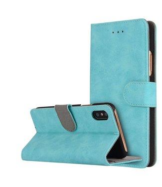 Crazy Horse Vintage stijl Crazy PU Leren Stand Wallet voor iPhone X 5,8 inch - Cyaan