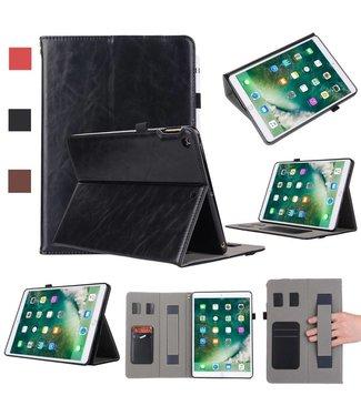 TVC Echt leren Kaarthouder Standaard Tablet-hoes voor iPad 9,7-inch (2018) / 9,7-inch (2017) - Zwart
