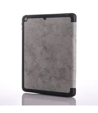 ZWC Vintage stijl gevouwen PU lederen tabletstandaard met pengleuf voor iPad 9.7 (2018) /9.7 (2017) - Grijs