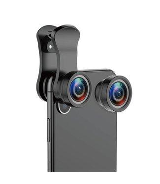 Baseus BASEUS 3-in-1 180 ° Fish-eye + 120 ° Groothoek + 15X Macro Lensclip voor smartphones - Zwart