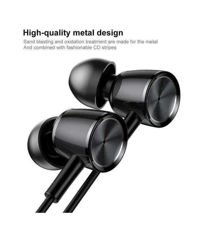 Baseus BASEUS Encok H07 L-vormige 3,5 mm plug Universele bedrade koptelefoon met microfoon en drive-by-wire - Zwart