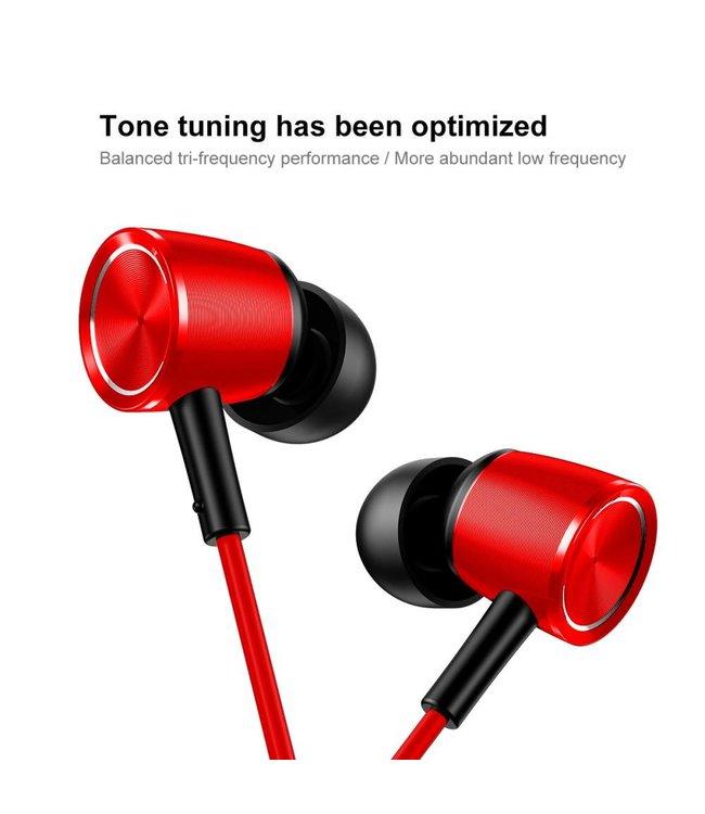 Baseus BASEUS Encok H07 L-vormige 3,5 mm plug Universele bedrade koptelefoon met microfoon en drive-by-wire - Rood