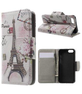 TVC Magnetische Flip PU Lederen Hoes voor iPhone SE / 5s / 5 - Postkaartstijl Eiffeltoren