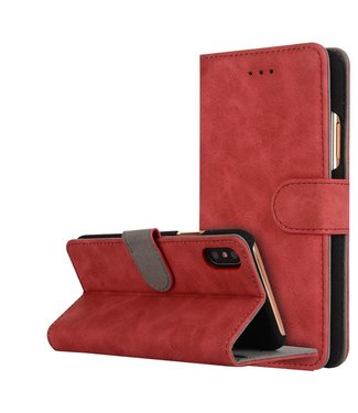 Crazy Horse Crazy Horse Vintage Style Portemonnee PU Lederen Hoes iPhone X 5.8 inch - Rood