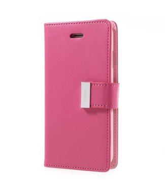 Goospery MERCURY GOOSPERY 'Rich Diary' PU Leren Portemonnee hoes iPhone 8/7 4.7 inch - Donker Roze