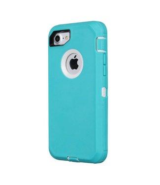 ZWC Robuuste Schokbestendige Spatwater- en Stofdichte Hoes voor iPhone 8/7 - Cyaan
