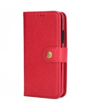 2-in-1 multifunctionelePU Lederen portefeuille + afneembare achterkant voor iPhone X - Rood
