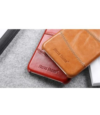 Fierre Shann FIERRE SHANN Lederen Backcase voor iPhone 7/8/SE 2020 4.7 Inch - Rood
