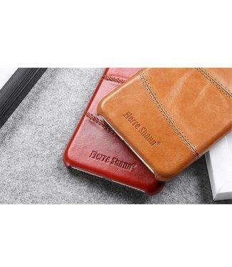 Fierre Shann Lederen Backcase voor iPhone 7/8/SE 2020 - Rood