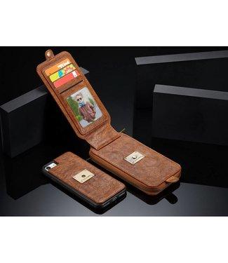 Caseme CASEME  2-in-1 Lederen Wallet Hoes voor iPhone 8/7 4,7 inch - Bruin