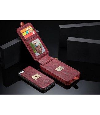 Caseme CASEME  2-in-1 Lederen Wallet Hoes voor iPhone 8/7 4,7 inch - Wijnrood