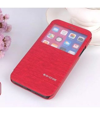 G-Case G-CASE Exquisite Series Business Kijkvenster Leren Cover voor iPhone X - Rood