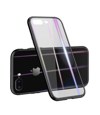 Baseus Afneembaar Magnetisch Plastic frame + gehard glazen achterkant voor iPhone 8 Plus / 7 Plus- Zwart