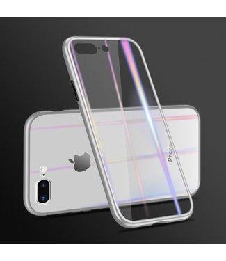 Baseus Magnetisch Plastic frame +glazen achterkant voor iPh 7/8 Plus- Zilver