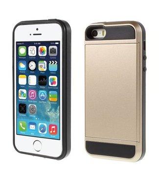 TVC Kunststof +TPU Hybride Back Case met schuif-kaartvak voor iPhone SE, 5, 5(s) - Champagne