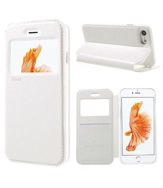 Roar PU Lederen Venster Hoes voor iPhone 7/8/SE 2020 4.7 inch - Wit