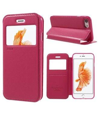 Roar PU Lederen Venster Hoes iPhone 7/8/SE 2020 4.7 inch - Donker Roze