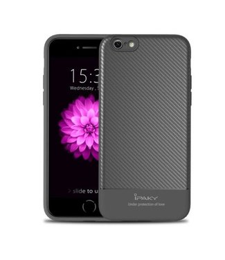 iPaky IPAKY Carbon Fiber Flexible TPU Back case hoes iPhone 6s / 6 4.7 inch – Zwart/Grijs
