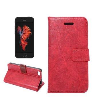 Crazy Horse Crazy Horse Wallet Stand voor iPhone SE 5s 5 - Rood