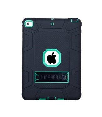 TVC Armour Defender Kickstand Siliconen Hybrid Case voor iPad 9.7 (2018) / 9.7 (2017) - Zwart/Cyaan