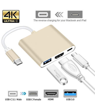 Cool-Zawadi USB Type C Hub HDMI 4K Adapt. + extra 3.0 USB en 3.1 oplaad Poort voor MacBook