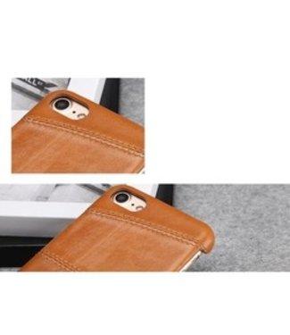 Fierre Shann Echt Lederen Backcase FIERRE SHANN iPhone 7/8/SE 2020 4.7 Inch - Bruin