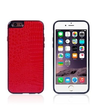 ZWC Crocodile TPU/PU Leren Softcase iPhone 6(s) plus - Rood