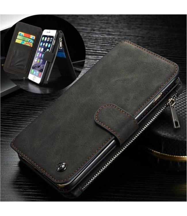 Caseme Leren Flip Wallet iPhone 6(s) plus - Zwart - Caseme